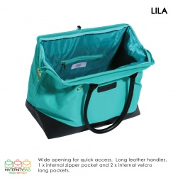 Lila Teal Tope wide opening hospital bag
