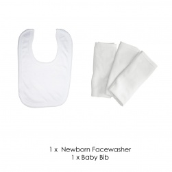 Classic baby bib and facewasher