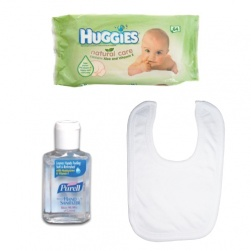 Baby Wipes, Baby Bib and Hand Sanitiser for Baby Bag