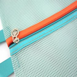 Teal Blue zipper and handle detail